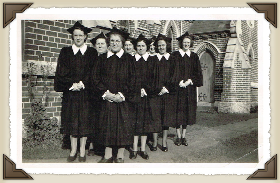Ladies of the Choir model their new gowns in 1949